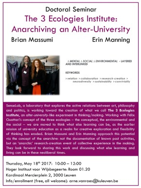 "Seminar: ""The 3 Ecologies Institute – Anarchiving an Alter-University"""